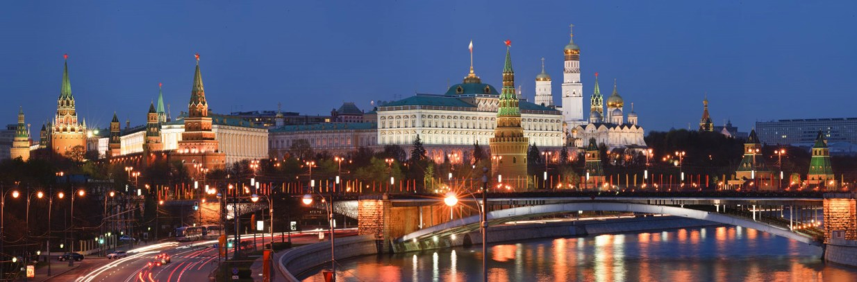 Towers and walls of the Moscow Kremlin at night