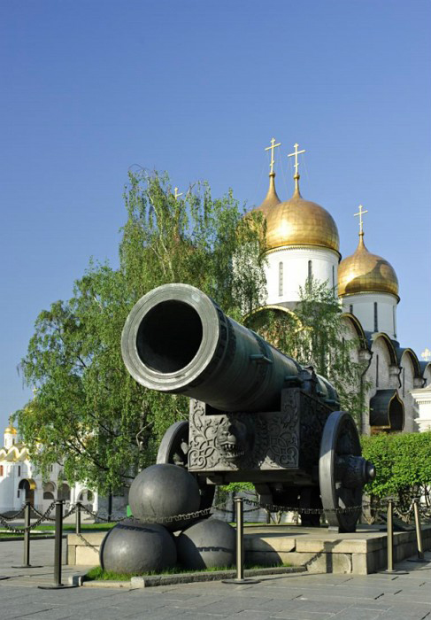 Tsar Cannon and domes of the Assumption Cathedral
